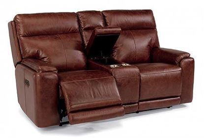 Picture of Sienna Reclining Leather Loveseat with Console