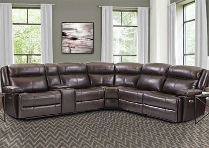 ECLIPSE - FLORENCE BROWN 6pc Leather Sectional MECL-PACKA(H)-FBR by Parker House furniture